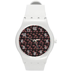 Cloud Red Brown Round Plastic Sport Watch (m) by Mariart