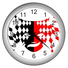 Face Mask Red Black Plaid Triangle Wave Chevron Wall Clocks (silver)  by Mariart