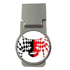 Face Mask Red Black Plaid Triangle Wave Chevron Money Clips (round)  by Mariart