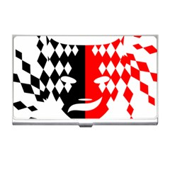Face Mask Red Black Plaid Triangle Wave Chevron Business Card Holders by Mariart