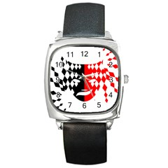 Face Mask Red Black Plaid Triangle Wave Chevron Square Metal Watch by Mariart