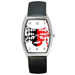 Face Mask Red Black Plaid Triangle Wave Chevron Barrel Style Metal Watch by Mariart