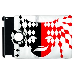 Face Mask Red Black Plaid Triangle Wave Chevron Apple Ipad 2 Flip 360 Case by Mariart