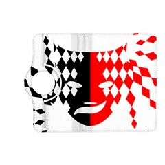 Face Mask Red Black Plaid Triangle Wave Chevron Kindle Fire Hd (2013) Flip 360 Case by Mariart