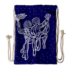 Gemini Zodiac Star Drawstring Bag (large) by Mariart