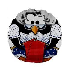 Grandma Penguin Standard 15  Premium Flano Round Cushions by Nexatart