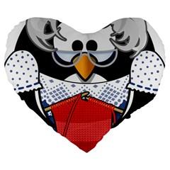 Grandma Penguin Large 19  Premium Flano Heart Shape Cushions