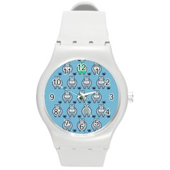 Funny Cow Pattern Round Plastic Sport Watch (m)
