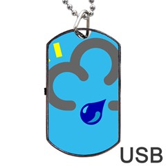 Light Rain Shower Cloud Sun Yellow Blue Sky Dog Tag Usb Flash (one Side) by Mariart
