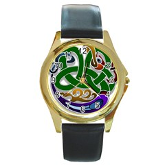 Celtic Ornament Round Gold Metal Watch by Nexatart