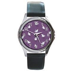Goose Swan Animals Birl Origami Papper White Purple Round Metal Watch by Mariart