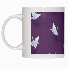 Goose Swan Animals Birl Origami Papper White Purple White Mugs by Mariart
