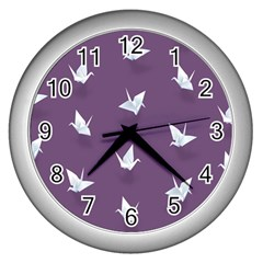 Goose Swan Animals Birl Origami Papper White Purple Wall Clocks (silver)  by Mariart