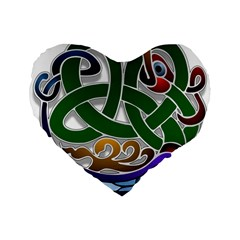 Celtic Ornament Standard 16  Premium Flano Heart Shape Cushions by Nexatart