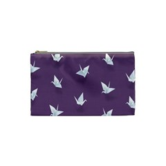 Goose Swan Animals Birl Origami Papper White Purple Cosmetic Bag (small)  by Mariart