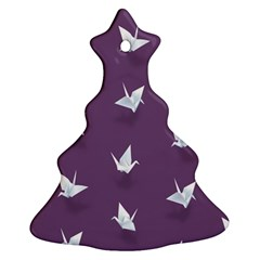 Goose Swan Animals Birl Origami Papper White Purple Christmas Tree Ornament (two Sides) by Mariart