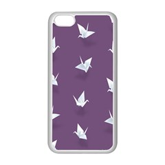 Goose Swan Animals Birl Origami Papper White Purple Apple Iphone 5c Seamless Case (white) by Mariart