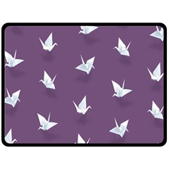 Goose Swan Animals Birl Origami Papper White Purple Double Sided Fleece Blanket (large)  by Mariart