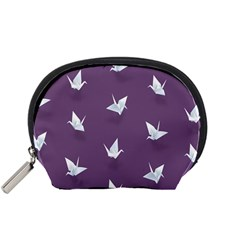 Goose Swan Animals Birl Origami Papper White Purple Accessory Pouches (small)  by Mariart