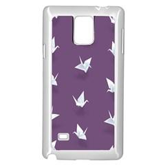 Goose Swan Animals Birl Origami Papper White Purple Samsung Galaxy Note 4 Case (white) by Mariart