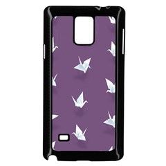 Goose Swan Animals Birl Origami Papper White Purple Samsung Galaxy Note 4 Case (black) by Mariart