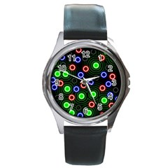 Neons Couleurs Circle Light Green Red Line Round Metal Watch by Mariart
