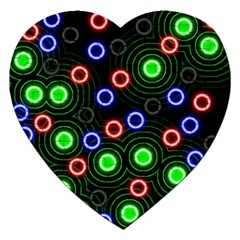 Neons Couleurs Circle Light Green Red Line Jigsaw Puzzle (heart) by Mariart