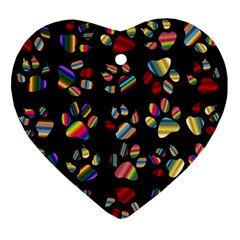Colorful Paw Prints Pattern Background Reinvigorated Ornament (heart)