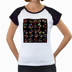 Colorful Paw Prints Pattern Background Reinvigorated Women s Cap Sleeve T