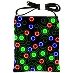 Neons Couleurs Circle Light Green Red Line Shoulder Sling Bags by Mariart