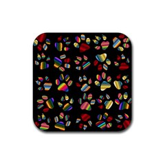 Colorful Paw Prints Pattern Background Reinvigorated Rubber Square Coaster (4 Pack)  by Nexatart