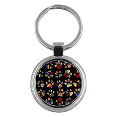 Colorful Paw Prints Pattern Background Reinvigorated Key Chains (round)