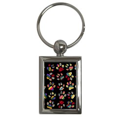 Colorful Paw Prints Pattern Background Reinvigorated Key Chains (rectangle)