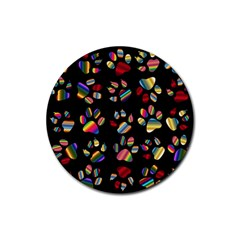 Colorful Paw Prints Pattern Background Reinvigorated Rubber Round Coaster (4 Pack)