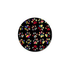 Colorful Paw Prints Pattern Background Reinvigorated Golf Ball Marker (10 Pack) by Nexatart