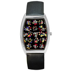Colorful Paw Prints Pattern Background Reinvigorated Barrel Style Metal Watch