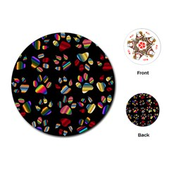 Colorful Paw Prints Pattern Background Reinvigorated Playing Cards (round)