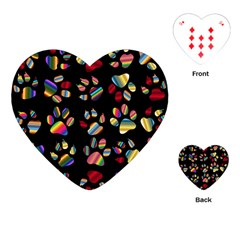 Colorful Paw Prints Pattern Background Reinvigorated Playing Cards (heart)  by Nexatart