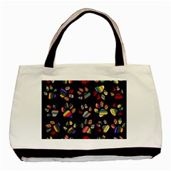 Colorful Paw Prints Pattern Background Reinvigorated Basic Tote Bag