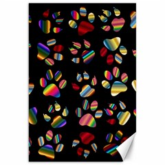 Colorful Paw Prints Pattern Background Reinvigorated Canvas 20  X 30   by Nexatart