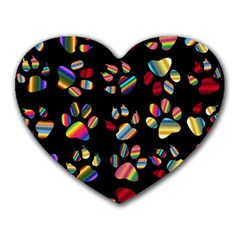 Colorful Paw Prints Pattern Background Reinvigorated Heart Mousepads by Nexatart