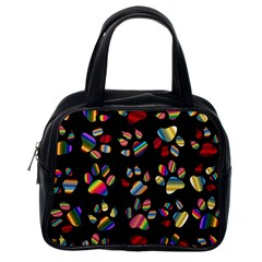 Colorful Paw Prints Pattern Background Reinvigorated Classic Handbags (one Side) by Nexatart