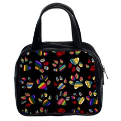 Colorful Paw Prints Pattern Background Reinvigorated Classic Handbags (2 Sides)