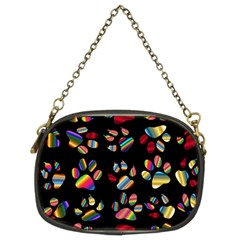 Colorful Paw Prints Pattern Background Reinvigorated Chain Purses (two Sides)  by Nexatart