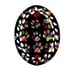 Colorful Paw Prints Pattern Background Reinvigorated Ornament (oval Filigree)