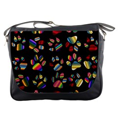 Colorful Paw Prints Pattern Background Reinvigorated Messenger Bags by Nexatart