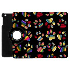 Colorful Paw Prints Pattern Background Reinvigorated Apple Ipad Mini Flip 360 Case