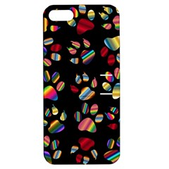 Colorful Paw Prints Pattern Background Reinvigorated Apple Iphone 5 Hardshell Case With Stand by Nexatart