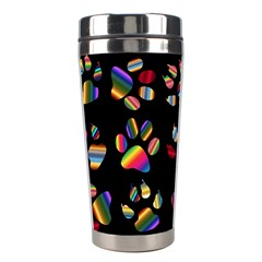 Colorful Paw Prints Pattern Background Reinvigorated Stainless Steel Travel Tumblers by Nexatart