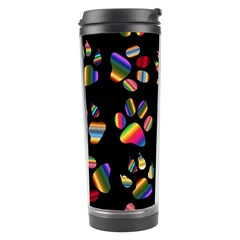 Colorful Paw Prints Pattern Background Reinvigorated Travel Tumbler by Nexatart